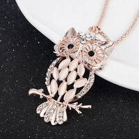 Cute Women Owl Rhinestone Pendant Sweater Chain Necklace Jewelry Fashion Gift