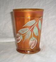 ANTIQUE MARIGOLD CARNIVAL GLASS NORTHWOOD PRETTY PANELS DECORATED WATER TUMBLER