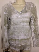 Barbara Lesser Sublimination tie dye green&white thin long sleeve Cotton top~S~