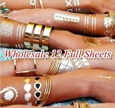 12 Full Sheets Multi-Styles Temporary Metallic Flash Tattoo Gold Silver Tattoos