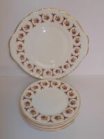 Bone China Floral Design Cake Plate & 6 x Side Plates - Made in England - Lovely