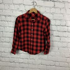 Flannel Girls Button Down Plaid Check Red Black Long Sleeve Top Size M