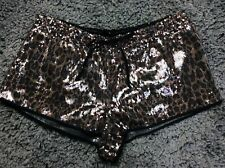 Victoria's Secret Semi Sheer Black & Gold Sequinned Pyjama Shorts Size M Vgc