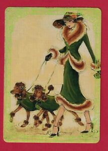 Beautiful Art Deco Lady With Poodles -- Modern Wide Linen Swap P/Card Lace Edge