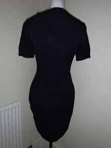 Black Fluffy Bodycon Midi Dress Size L (12-14)