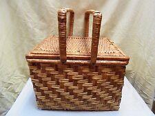 "Vintage Woven Wicker  2 Tone Sewing Picnic Basket W/ 2 Handles & Lid 14"" x 12"""