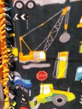 Fleece fabric no sew blanket - Construction Trucks