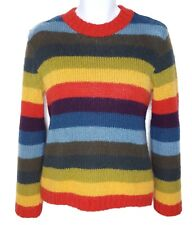 Womens Sweater Small Medium Rainbow Stripe Fuzzy Mohair Fitted Multicolor Green