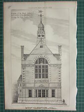 1877 DATED ARCHITECTURAL PRINT ~ WEST ELEVATION PARISH OF ST MARY ABBOTTS VESTRY