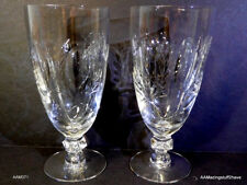"2 Vintage Crystal Clear Water or Wine Goblets Glasses 12oz 6 -7/8"" tall"