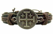 Jerusalem Cross Leather Bracelet NEW (TC405)