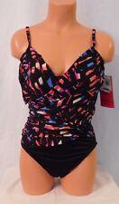 Miraclesuit Magicsuit Swimsuit One Piece Size 14 Black Multi Geometric Print NEW