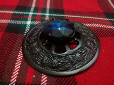 TC Kilt Fly Plaid Brooch Thistle Design Blue Stone/Highland Pins Brooches Black
