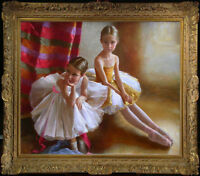 "Hand-painted Original Oil painting art Ballet Small girl on Canvas 30""X40"""