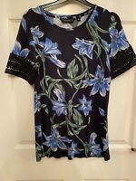 Dorothy Perkins Navy Blue Floral Print Lace Short Sleeve Top Size UK 8