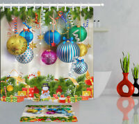Christmas Baubles Candy Cane Snowman Gifts Shower Curtain Set Waterproof Fabric