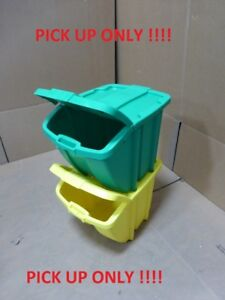 Lot of 2 Suncast Recycling Hopper Bins - 18-Gallon Capacity PICK UP ONLY !!!!