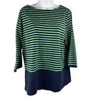 Chaps Womens L Shirt Stripes Casual Green Navy Blue 3/4 Sleeves Scoop Neck