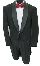 Men's Black Pierre Cardin Tuxedo Tailcoat Striped Satin Shawl Lapels 41 X-Long