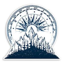 2 x 10cm Mountain Compass Vinyl Stickers - Camping Hiking Laptop Sticker #31489