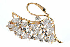 Janeo Swan Brooch Pin Swarovski Crystals Elements Christmas Anniversary Gift Her