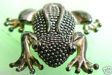 frog pin brooch Silver Plate metal great