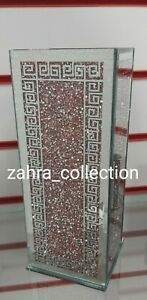 Crushed Crystal Diamond Bling Mirror Glass Pink Silver Vase NEW Design