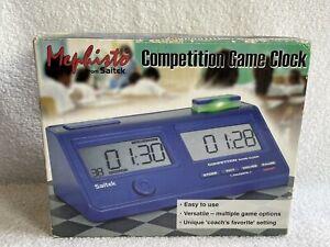 Saitek Mephisto Competition Game Clock Blue LCD Digital Screen Chess Timer