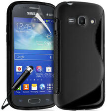 BLACK S CURVE GEL Phone CASE COVER FOR SAMSUNG Galaxy  ACE 3 + Stylus
