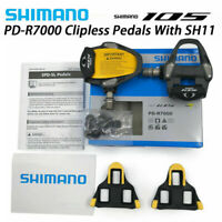 Shimano 105 PD-R7000 SPD-SL Pedals Carbon Bike Bicycle Pedal w/ SM-SH11 Cleats