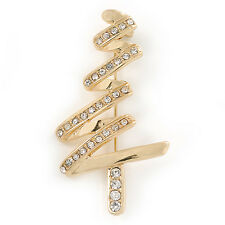Gold Plated Clear Crystal Christmas Tree Brooch - 50mm L