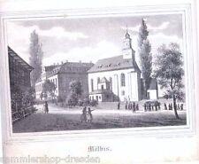 MÖLBIS Lithografie aus Sachsens Kirchengalerie Kirchengallerie um 1840