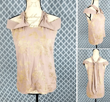 Woman's *ANN TAYLOR* Silk Biege & Gold Casual Career Sleeveless Blouse Size S