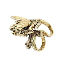 Dragon Iced Out Two Finger Minimalist Bar Vintage Jewelry Men Women Sz 9 Ring