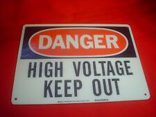 "Danger High Voltage Keep Out Warning Sign 14"" x 10"" Genuine Fiberglass Industry"
