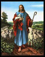 """The Good Shepherd"" Jesus and the Little Lamb Calendar Art Print-1960's"
