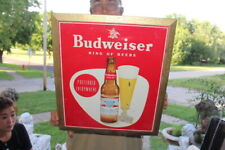 """Vintage 1940's Budweiser King Of Beers Beer Bar Tavern Gas Oil 17"""" Metal Sign"""