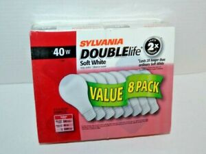 8 Pack Sylvania 40w/120v Soft White Double Life A19 LIght Bulbs NEW SEALED