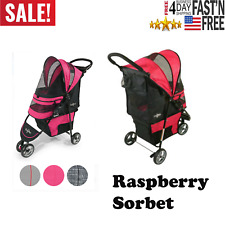 Gen7Pets Regal Plus Pet Stroller in Raspberry Sorbet with Interior Compartment