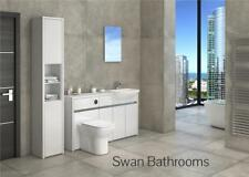 WHITE / WHITE GLOSS BATHROOM FITTED FURNITURE WITH TALL UNIT 1800MM