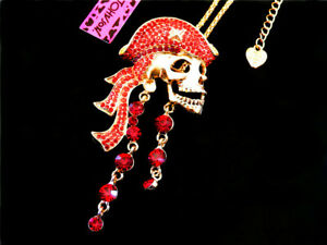 Betsey Johnson Charming Red Crystal Skull Head Pendant Necklace Sweater Chain