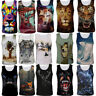 Mens 3D Animal Printed Tank Top Gym Fitness Summer T-shirt Vest Sleeveless Tees
