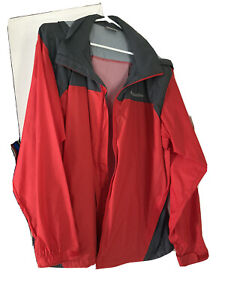 Columbia Red Black Large Lightweight Jacket with Hood Zipper Nylon Shell