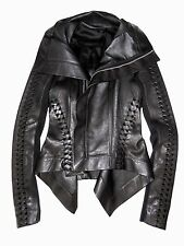 RICK OWENS Black Braided Leather Peplum Asymmetric Biker Naska Jacket Coat US 6