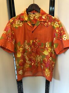 vintage 40s ALOHA HAWAIIAN TOGS HAWAII LOOP COLLAR BARK CLOTH ORANGE SHIRT  L