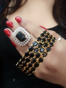 Indian Bollywood Wedding Stones Fashion Jewelry Bangles And Rings Casual Wear