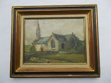 TABLEAU ANCIEN HSP EGLISE CHAPELLE BRETAGNE CURIOSITE OLD ANTIQUE PAINTING  XX