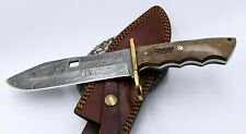 "10.5"" Damascus Knife Handmade Custom Hunting Fixed Blade Knife Hand-Forged"