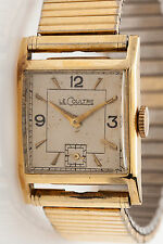 Vintage 1950s 14k Solid Yellow Gold LeCoultre Mens Tank Dress Watch SUBSECONDS