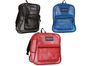 JANSPORT Mesh Backpack NEW 3 Colors School Gym Travel Book Bag Jan Sport